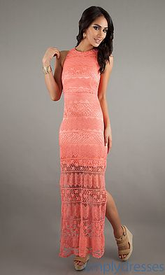 Long Sleeveless Lace Dress at SimplyDresses.com
