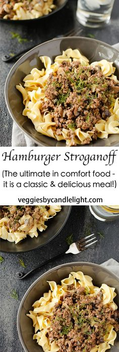 Hamburger Stroganoff - The ultimate in comfort food. A magical dish that acts & tastes like a stew. Served over egg noodles, it's a classic and delicious meal! Beef Recipes, Real Food Recipes, Great Recipes, Dinner Recipes, Healthy Recipes, Beef Meals, Entree Recipes, Delicious Recipes, Pasta Recipes