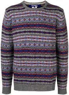 6ff7e5524 Junya Watanabe knit printed sweater Junya Watanabe, Grey Sweater, Men's  Sweaters, Crew Neck