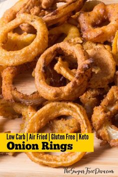 WOW!! Air Fried Onion Rings. The perfect appetizer for tailgates, parties, or just as a snack. This recipe also has options for #lowcarb #glutenfree and #keto ! Great #recipe too!