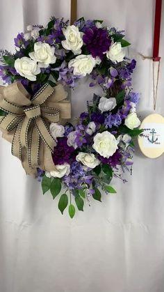Valentine Wreath, Valentine Box, Valentine Ideas, Valentine Crafts, Purple Wreath, Floral Wreath, Cross Wreath, Heart Wreath, Wreaths For Front Door
