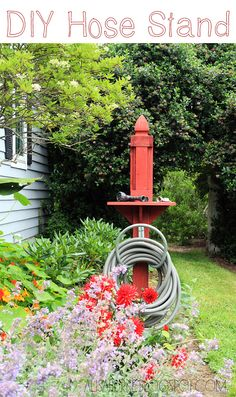 DIY hose stand, but paint the same stain as deck. Finish with a solar light post top instead.