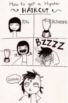 Hipster haircut with a blender.