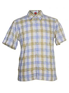 Preloved Vintage Clothing | Hugo Boss Men's Shirt Short Sleeve Style Orange Label check slim fitting styled out of Italy very trendy styled out of Italy. Chest 40 Inches - Top to Bottom - 26 Inches  Condition Very Good Used Order and is still really solid just there is a couple tiny minor stains near to the collar and also to the arm sleeve that really are nothing too major giving it a more rugged effect and very trendy. See pictures. Was very expensive  How to wear  Cracking on with jeans…