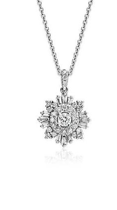 A starburst of round and trapezoid diamonds twinkle in this beautiful white gold pendant, adding a luminous touch to any look. Blue Nile, Gold Pendant, Wedding Day, Diamonds, Fashion Jewelry, White Gold, Touch, Jewels, My Style