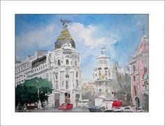 La Gran Vía de Madrid. Acuarela, 40x30 cms Más detalles en: www.rubendeluis.com/acuarelas/acuarelas.htm