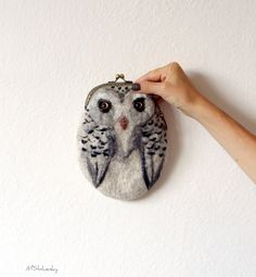 snowy OWL Wet Felted coin purse Ready to Ship with bag frame metal closure Handmade  gift for her under 50 USD. $64.00, via Etsy.
