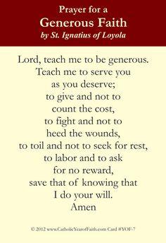 Prayer of St. Ignatius for a Generous Faith