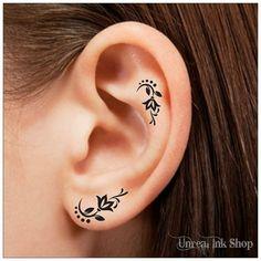 Oreille fleur tatouage temporaire 6 tatouages tatouages doigt