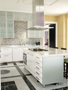 Contemporary Kitchen with slate tile floors, One-wall, High ceiling, Kitchen island, Flush, European Cabinets, Stone Tile