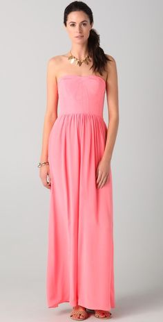 Rebecca Taylor corset gown in Watermelon. Glamour with a pop of color~