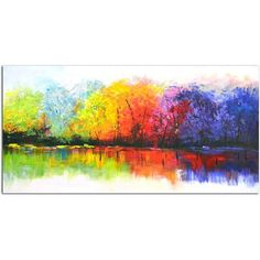 Omax Decor Reflective Rainbow Trees Painting on Canvas