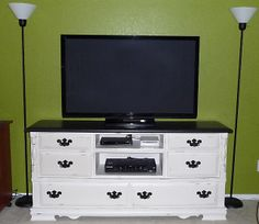 Crafting in the Rain: TV Console from a Dresser