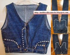 Vest cut from body portion of blue jeans.  follow cutting lines shown in right side images.  www.modaedicasdecostura.blogspot.ca