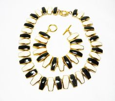 Fall Sale - Marked Down 20% ! #GiftIdeas Pre Holiday Sale !!! Black & White Necklace Bracelet Set - Enamel Modernist Demi Parure - 1980's 1990's Retro Style offered by TheJewelSeeker on Etsy  Style: Statement Jewe... #vintage #jewelry #teamlove #etsyretwt #ecochic
