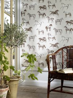 The beautiful horses of our popular Collette wallpaper feature a modern graphic tone that looks good in a city apartment, as well as a country manor. Beige Wallpaper, Kids Wallpaper, Modern Country, Beautiful Horses, Retro, Feng Shui, Cool Designs, Ceiling Lights, Table