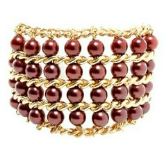 Burgundy beads & gold chain statement bracelet Brand new never been worn or open in the bag Jewelry Bracelets