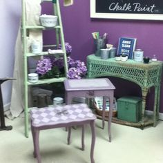 I just finished these sweet little tables with hand-painted vintage looking violets, using Chalk Paint(tm) in Emile and Paloma. I did my planning in the new Annie Sloan Work Book!