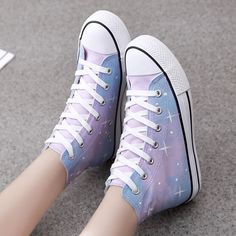 "Fashion students galaxy hand-painted canvas shoes- Pastel galaxies! Use code ""battytheragdoll"" for 10% off!"