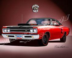 1969 Dodge Charger Super Bee | DODGE SUPER BEE 1969 -1970 car art print poster