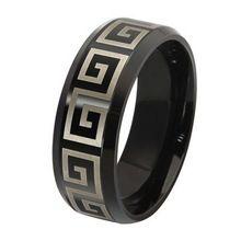 Titânio homens de Aço Inoxidável Preto Moda Listras Anéis de Grande Muralha