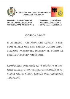 Prende il via il corso di lingua e cultura arbëreshepresso la sede dell'associazione Achiropita Lunedì 14 settembre alle h 17.00. Il corso nasce da un'ide