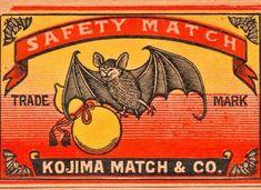 蝙蝠と瓢箪のマッチラベルの塗り絵の下絵、画像
