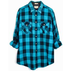 Vintage Buffalo Plaid Flannel Shirt Aqua Blue Black Plaid ($42) ❤ liked on Polyvore featuring tops, black top, plaid flannel shirt, vintage shirts, blue plaid shirt and shirts & tops