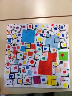Le carré: collage et empreintes - Basteln dekoration Shape Collage, Shape Art, Art Education Lessons, Art Lessons, Kindergarten Lesson Plans, Math Art, Collaborative Art, Preschool Art, Teaching Art