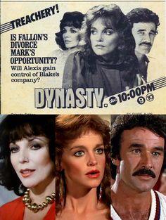 1983 TV Guide ad — Dynasty (1981-89, ABC) with Joan Collins as 'Alexis', Pamela Sue Martin as 'Fallon' & Geoffrey Scott as 'Mark'