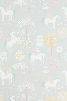 The wallpaper True Unicorns Grå - from Majvillan is a wallpaper with the dimensions x m. The wallpaper True Unicorns Grå - belongs to th Unicornios Wallpaper, Wallpaper Paste, Turquoise Wallpaper, Pastel Colors, Colours, Unicorn Bedroom, Unicorn Decor, Stoff Design, Tudor Rose
