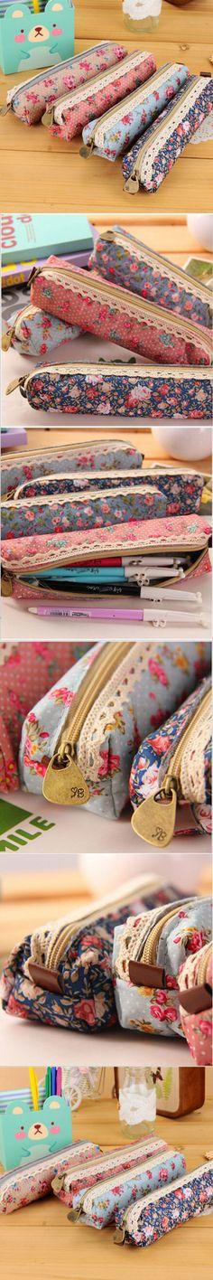 Cute Kawaii Floral Canvas Zipper Pencil Case Fabric Vintage Dot Lace Pen Bag for Kids Girls School Supplies Free shipping 117 $1.07