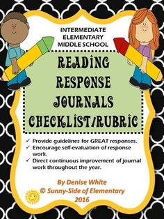 Last year I decided I needed more accountability with my students for their reading response journals so I developed this checklist/rubric AND IT WAS A HUGE HELP!!!My checklist/rubric helped me:Provide guidelines for GREAT responses.  Encourage self-evaluation of response work.Direct continuous improvement of journal work throughout the year.