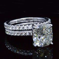 3.50 Ct. Cushion Cut Diamond Eternity Engagement Ring and Matching Band F,VS2 GIA - Recently Sold Engagement Rings