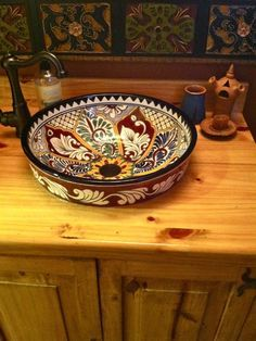 Vessel Sinks, Mexican Tiles, Bathroom Sinks, Kitchen Sinks, Boho Sink, Mexican Bathroom, Talavera Sinks