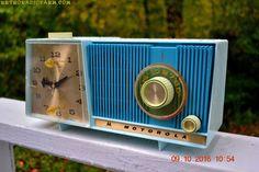 BLUE On Blue Beauty Mid Century Retro Motorola C18B Clock Radio 1962 Tube AM Clock Radio Totally Restored! etsy.com