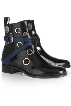 Christian Louboutin+ Jonathan Saunders Scubabootie 25 embellished glossed-leather ankle boots
