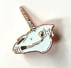 Rose Gold Unicorn Skull Pin