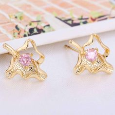 3mm 18K Gold Plated Fashion Irregular Shape Inlay Ziron Women Ladies Copper Earrings