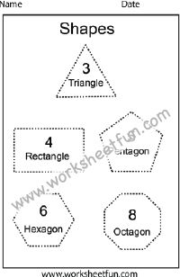 Shapes – Polygons – Triangle, Rectangle, Pentagon, Hexagon, Octagon – One Worksheet