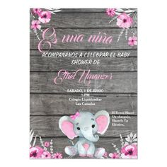 Girl Elephant Baby Shower Invitation, rustic, pink InvitationVery cute Girl Elephant/Peanut Baby Shower with watercolor flowers and wooden background. All fields are editable. Suitable for birthday or Baby Showers, Diaper shower,sip and see. Tarjetas Baby Shower Niña, Invitaciones Baby Shower Niña, Decoracion Baby Shower Niña, Baby Girl Shower Themes, Baby Shower Invites For Girl, Baby Shower Gifts, Baby Gifts, Peanut Baby Shower, Baby Girl Elephant