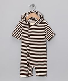 Take a look at this Brown Hooded Playsuit - Infant by Kumquat on #zulily today!