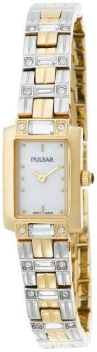 Pulsar Women's PEGD46 Double Time Swarovski Crystal Accented Watch Pulsar. $79.00. Hardlex crystal. Accented with 24 Swarovski crystals. Vibrant mother of pearl dial. Water-resistant to 99 feet (30 M). Quality Japanese-quartz movement