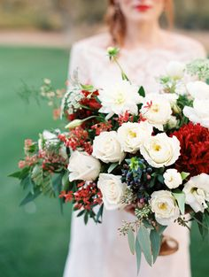 lush ruby red and white bouquet