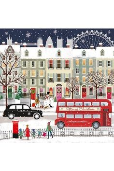 London Bus - Our pick of the sweetest festive greeting cards which help a good cause - from super traditional to kitsch, there's a card for you whatever your style design illustration Wonderfully kitsch Charity Cards Christmas Scenes, Noel Christmas, Winter Christmas, All Things Christmas, Christmas Crafts, London Christmas, Christmas Design, Christmas Costumes, Christmas Printables