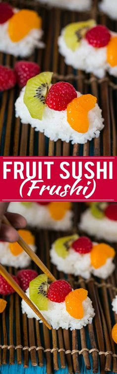 So much fun! Fruit Sushi (Frushi) is a fun and delicious snack or dessert, no special kitchen tools needed to make it! Dessert Sushi, Fruit Sushi, Sushi Lunch, Sushi Sushi, Mini Desserts, Dessert Recipes, Japanese Desserts, Gourmet Desserts, Plated Desserts