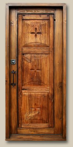 Bar to Balcony Door Constructed with an antique Mexican door and reclaimed Douglas fir.  Features a deadbolt with round key flap, and a cast door pull. 9157-06 Newport