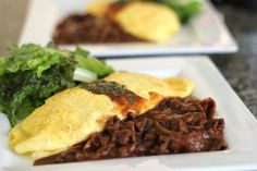 Omuhayashi (aka fried rice stuffed omelet with hayashi sauce on the side) - this recipe calls for a box mix...