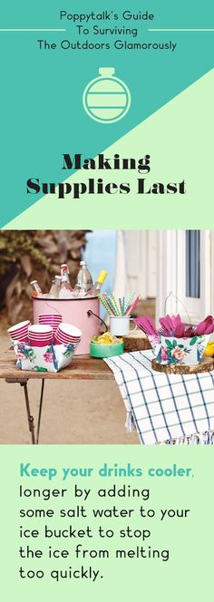Guide to Surviving The Outdoors Glamorously: ice/saltwater Birthday Bbq, 17th Birthday, Diy Party, Party Ideas, Vintage Sweets, Ice Buckets, Outdoor Retreat, Party Entertainment, Lets Celebrate