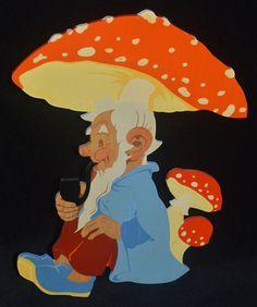 Vintage HELLERKUNST Man w Pipe Toadstool GERMAN 60s Folk Art Painted Wood Figure